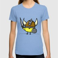 Viking Chick Womens Fitted Tee Tri-Blue LARGE