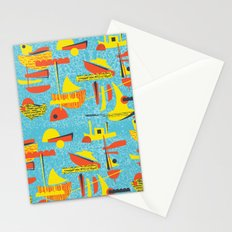 Abstract Boats inspired by midcentury 1950s design Stationery Cards
