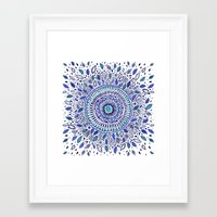 Indigo Flowered Mandala Framed Art Print