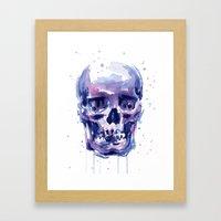 Skull Watercolor Framed Art Print
