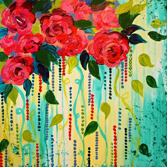 ROSE RAGE Stunning Summer Floral Abstract Flower Bouquet Feminine Pink Turquoise Lime Nature Art Art Print
