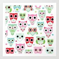 Powder pastel owl pattern print Art Print