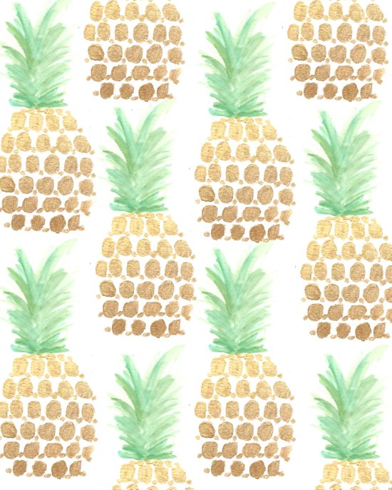 24K Gold Pineapples Art Print