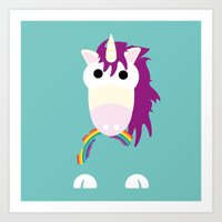 Minimal Unicorn Blue Art Print