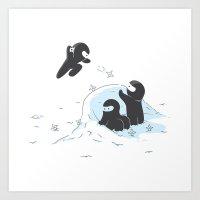 Ninjas do not camouflage well in winter Art Print