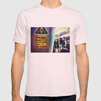 Danger Signs Mens Fitted Tee Light Pink SMALL