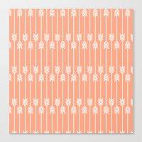 Peach And White Arrows Canvas Print