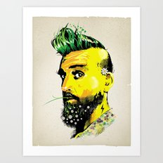 GREEN BEARD Art Print