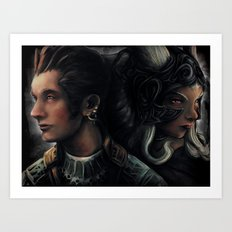 Balthier and Fran Final Fantasy 12 Portraits Art Print