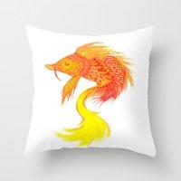 Fire Fish Throw Pillow