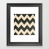 Vintage Vinyl - Black Chevron  Framed Art Print