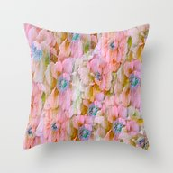 Pink Painterly Embossed … Throw Pillow