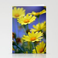 Yellow Daisies Blues Stationery Cards