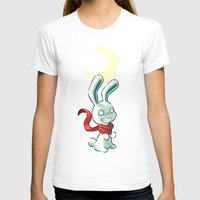Moon Bunny 2 Womens Fitted Tee White SMALL