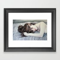 Striped Sheets Framed Art Print