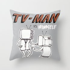 tv man vs himself Throw Pillow