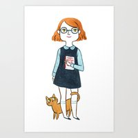A Girl And Her Cat Art Print
