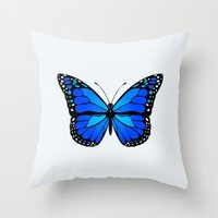 Blue butterfly Throw Pillow