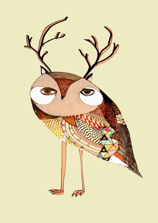 owl print, owl illustration, owl art, owl  Art Print
