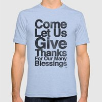 COME, LET US GIVE THANKS… Mens Fitted Tee Athletic Blue SMALL