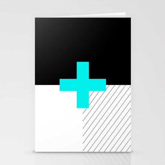 Neon Cross (Blue) // Neon Plus (Blue) Stationery Card