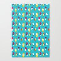 Ice Cream Pattern - Blue Canvas Print