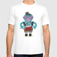 The Monkey Drummer Mens Fitted Tee White SMALL
