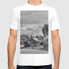 Down on the Farm Black and White White Mens Fitted Tee SMALL