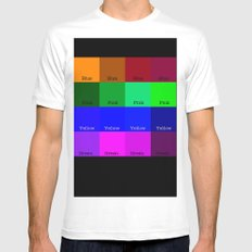 Blue, Pink, Yellow, Green  SMALL White Mens Fitted Tee