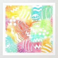 Watercolored Eggs Art Print