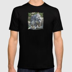 Snow leopard Mens Fitted Tee SMALL Black