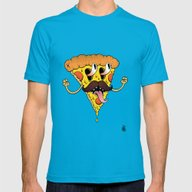Mustache Pizza Mens Fitted Tee Teal SMALL