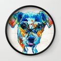 Colorful Little Dog Pop Art by Sharon Cummings Wall Clock