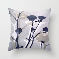abstract florals  ~ color option deep blue Throw Pillow