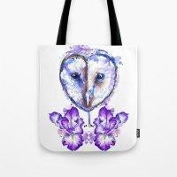 Owl and Irises Tote Bag