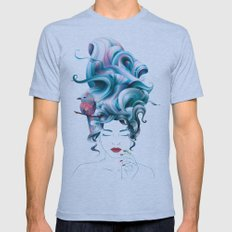 A girl with aqua hair Mens Fitted Tee Athletic Blue SMALL