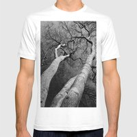 Monochrome Trees Mens Fitted Tee White SMALL