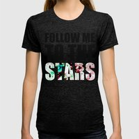 Follow Me To The Stars Womens Fitted Tee Tri-Black SMALL