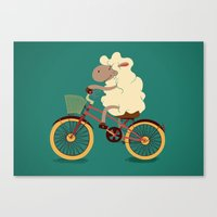 Lamb on the bike Canvas Print