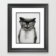 Framed Art Print featuring Mr. Owl by Isaiah K. Stephens