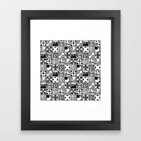 Black and White Abstract Squares Framed Art Print