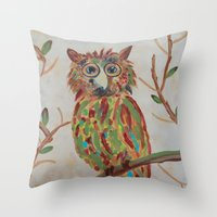 The Owl Of Colors Throw Pillow