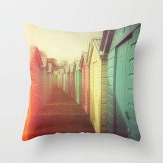 Beach Huts 01B - Retro Throw Pillow