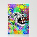 Leopard Psychedelic Paint Splats Stationery Cards