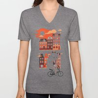 Happy Ghost Biking Throu… Unisex V-Neck