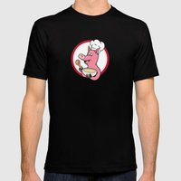 Pig Chef Cook Holding Bo… Mens Fitted Tee Black SMALL