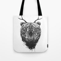 Angry Bear With Antlers Tote Bag