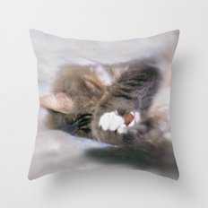 My Cat Actually Sleeps This Way Throw Pillow