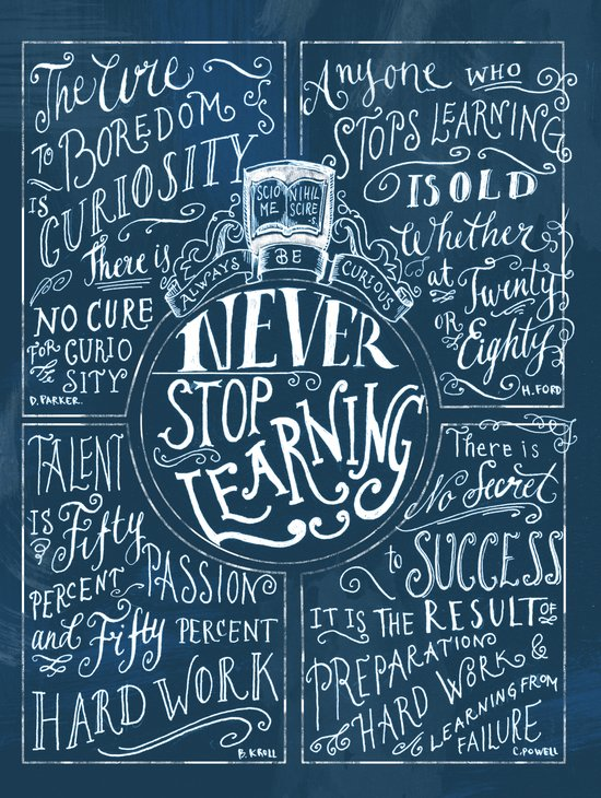 Never Stop Learning Art Print