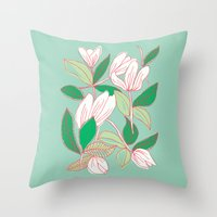 Floating Tulips (mint green) Throw Pillow